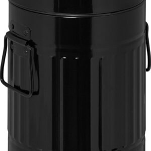 relaxdays pedaalemmer 3 liter - metaal - prullenbak met deksel - vuilnisbak badkamer zwart