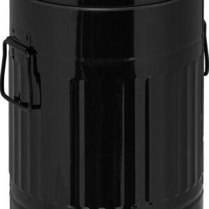 relaxdays pedaalemmer metaal - prullenbak met deksel - afvalbak - vuilnisbak - 7 liter zwart