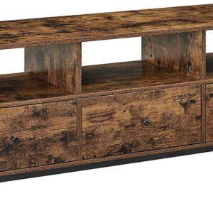  tv kastje tv tafel TV-meubel, lowboard voor TV's tot 65 inch, TV-plank met 3 laden, 147 x 40 x 50 cm, industrieel ontwerp, stalen frame, vintage bruin-zwart