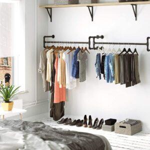 2 Kleding Stangen, Garderobeset, Ophangrek voor Kleding, Set van 2, Kledingrek, Industrieel Zwart