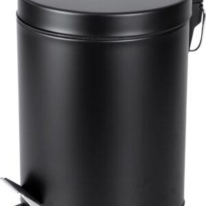 Differnz Pedaalemmer Mat Zwart - Prullenbak Badkamer - Afvalbakje - 5 liter
