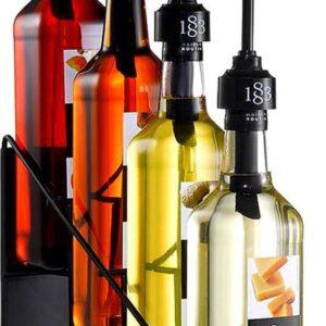 Flessenrek - Zwart - Metaal - 4 flessen - Wijnrek - Display rek - 100 cl flessen - Flessen houder - Flessenrek - Siroop rek - Modern - Wijnflessenrek