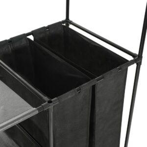 Kledingrek 87x44x158 cm staal en ongeweven stof zwart