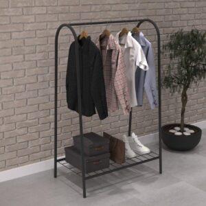 Kledingrek enkele stang met bodem van WDMT™ | 89 x 32,5 x 144,5 cm | Kledingrek | Industrieel kleding opbergrek | 1-laags inclusief kledinghang rek | Zwart