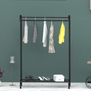 Metalen kledingrek halve maan van WDMT™ | 104 x 45 x 132 cm | Kledingrek | Industrieel kleding opbergrek | Schuin zwevend effect kledinghang rek | Zwart