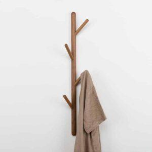 Creatief boomvormig massief houten kapstok kledingrek, afmeting: 75x3cm, zwarte walnoot