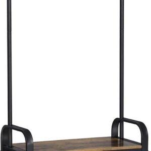Garderobe | Standaard | Kledingrek | 9 Verwijderbare Haken | Schoenenrek met Stoel | 3 Planken | Hoogte 183 Cm | Vintagebruin/Zwart | Metaal