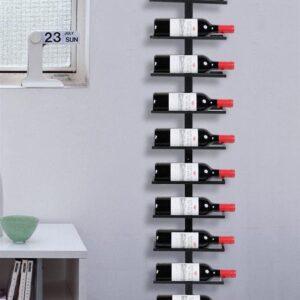 Wijnrek, flessenhouder, flessenrek, opbergrek voor aan de muur, van metaal, 10 flessen, zwart
