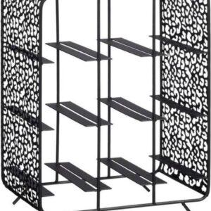 Wijnrek - luipaard - zwart - metaal - 9 flessen - woondecoratie - 28 x 36 x 18 cm