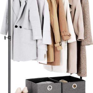 Heavy-duty kledingrek, bovenrail kan tot 90 kg dragen, industrieel pijprollend kledingrek met plank, vergrendelbare wielen, voor wasruimte, winkel, zwart HMHSR65BX