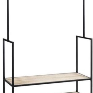 Kledingrek - Op wieltjes - 2 Planken - Metaal en Hout - Zwart - 173 cm