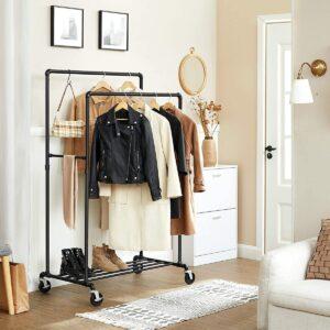 Kledingrek - Vrijstaand - Zware lasten - Tot 110 kg belastbaar - Industrieel design - Mobiele garderobestandaard - 2 kledingstangen - 100 x 59 x 162cm - zwart
